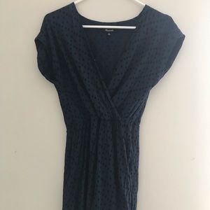 Madewell green and black dot dress size xs